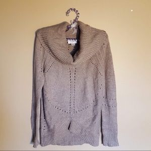 LOFT sandy brown cowl neck sweater size small